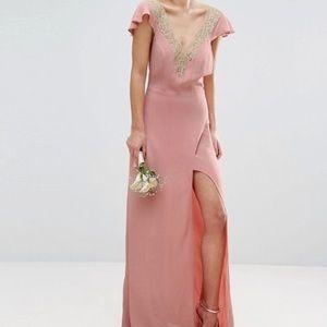 Bridesmaid Lace Applique Delicate Strap Maxi Dress